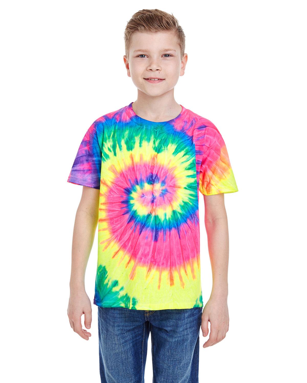 Tie-Dye Youth 5.4 oz. 100% Cotton T-Shirt NEON RAINBOW