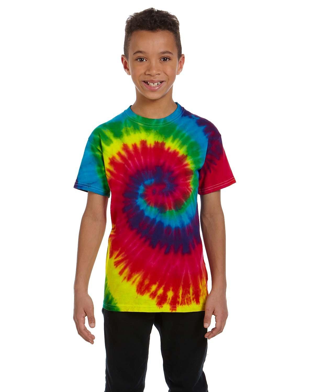 Tie-Dye Youth 5.4 oz. 100% Cotton T-Shirt REACTIVE RAINBOW