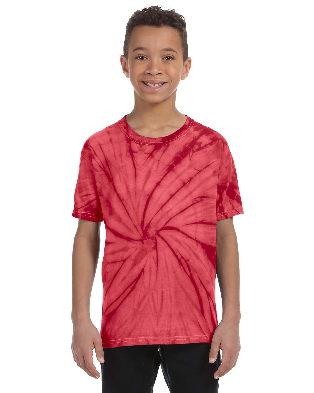 Tie-Dye Youth 5.4 oz. 100% Cotton Spider T-Shirt SPIDER RED