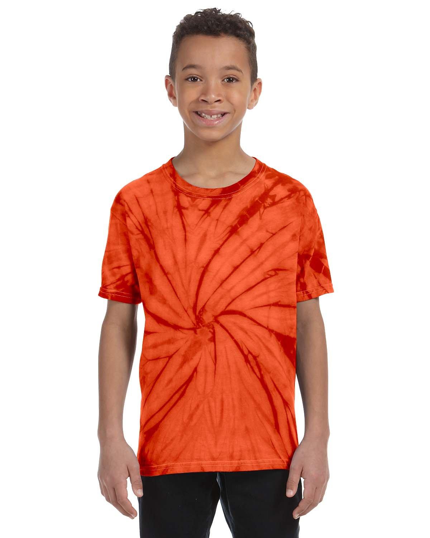 Tie-Dye Youth 5.4 oz. 100% Cotton Spider T-Shirt SPIDER ORANGE