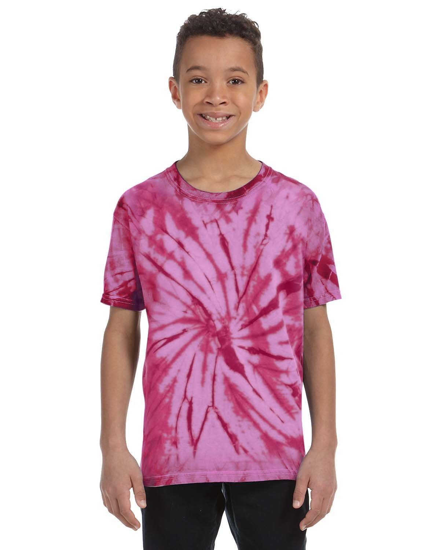 Tie-Dye Youth 5.4 oz. 100% Cotton Spider T-Shirt SPIDER PINK