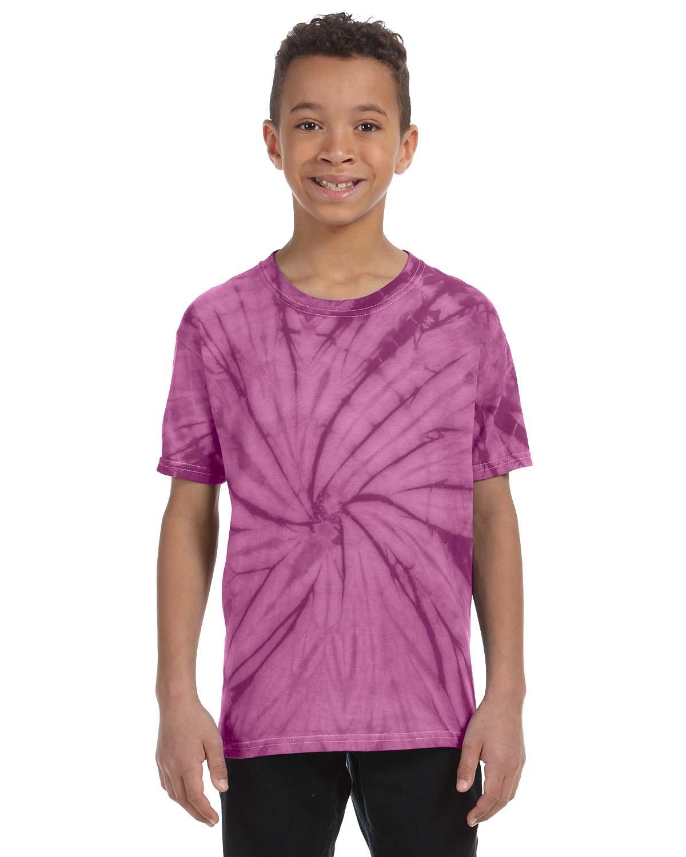 Tie-Dye Youth 5.4 oz. 100% Cotton Spider T-Shirt SPIDER PLUM