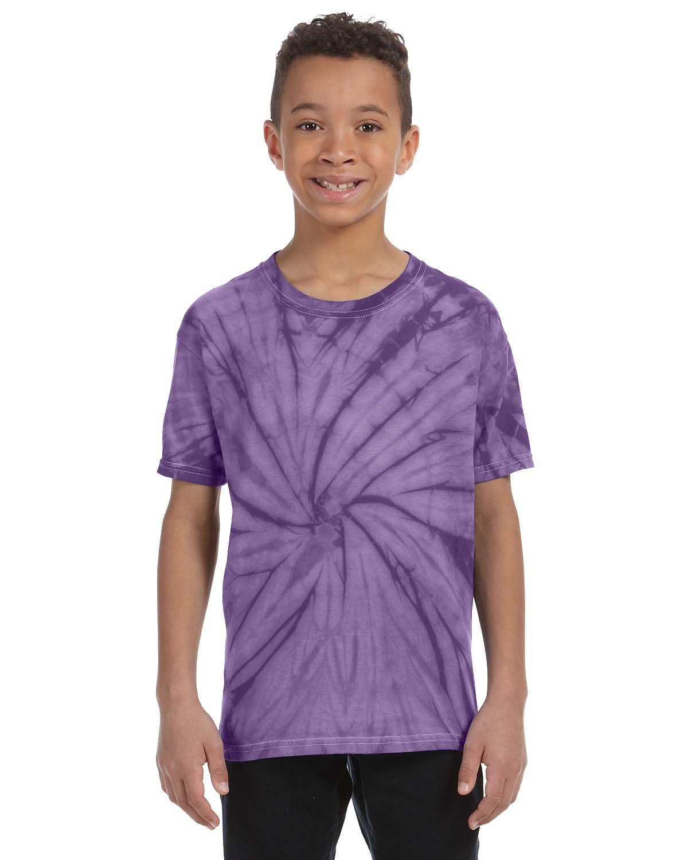 Tie-Dye Youth 5.4 oz. 100% Cotton Spider T-Shirt SPIDER PURPLE
