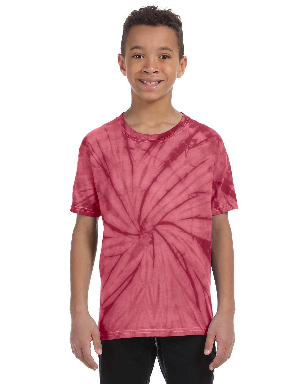Tie-Dye Youth 5.4 oz. 100% Cotton Spider T-Shirt SPIDER CRIMSON