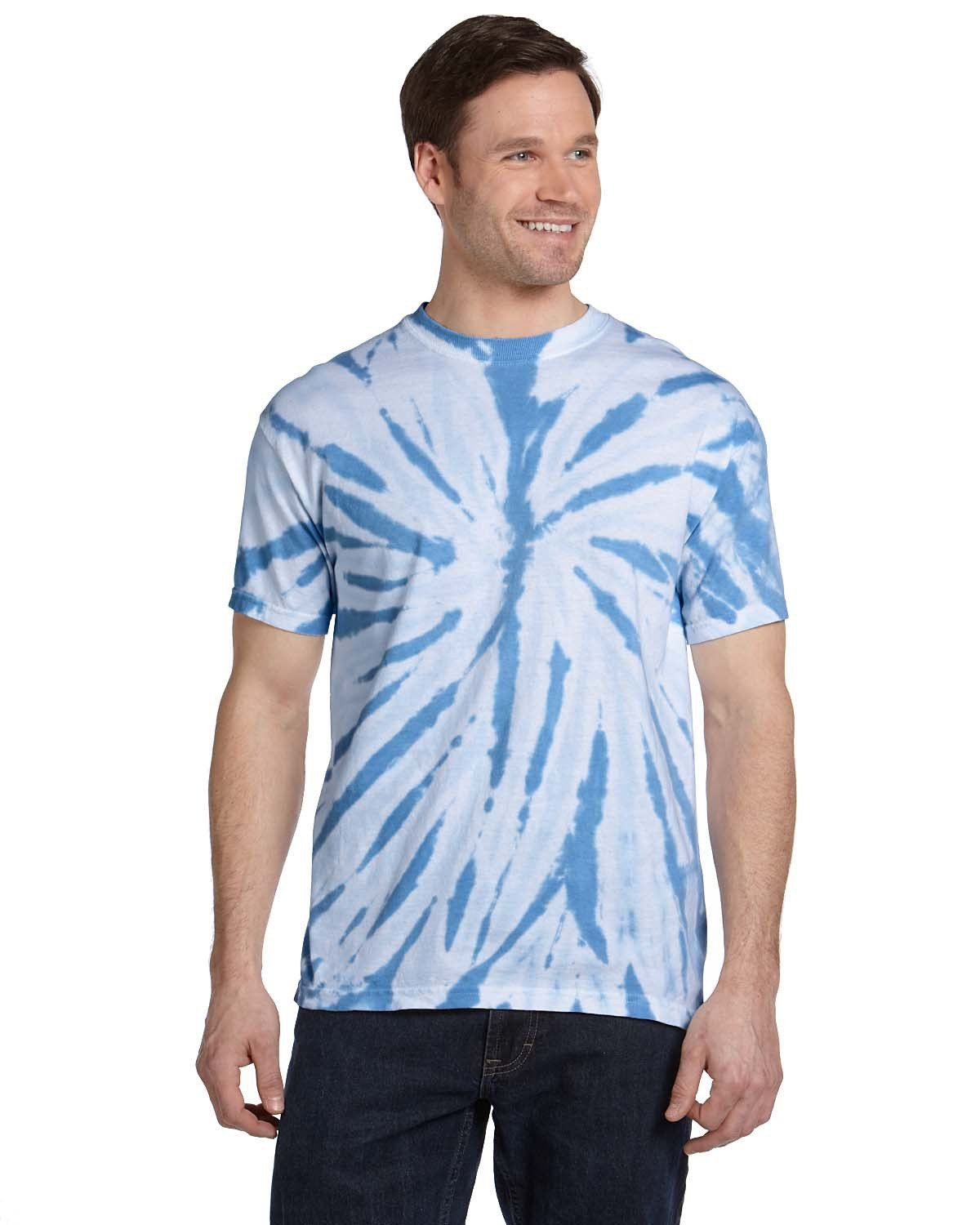 Tie-Dye Adult 100% Cotton Twist Tie-Dyed T-Shirt TWST CAROLIN BLU
