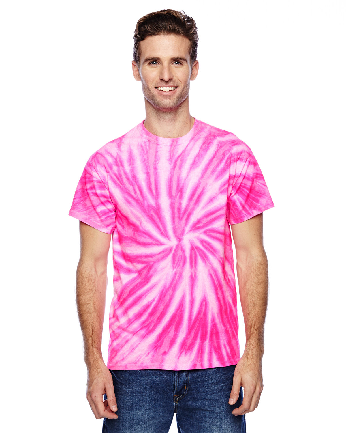 Tie-Dye Adult 100% Cotton Twist Tie-Dyed T-Shirt NEON BUBBLEGUM