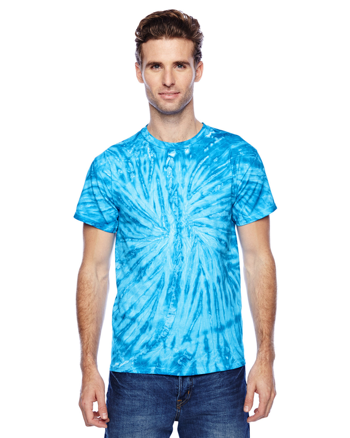 Tie-Dye Adult 100% Cotton Twist Tie-Dyed T-Shirt NEON BLUEBERRY