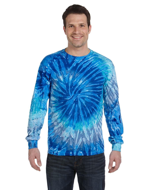 Tie-Dye Adult 5.4 oz. 100% Cotton Long-Sleeve T-Shirt BLUE JERRY