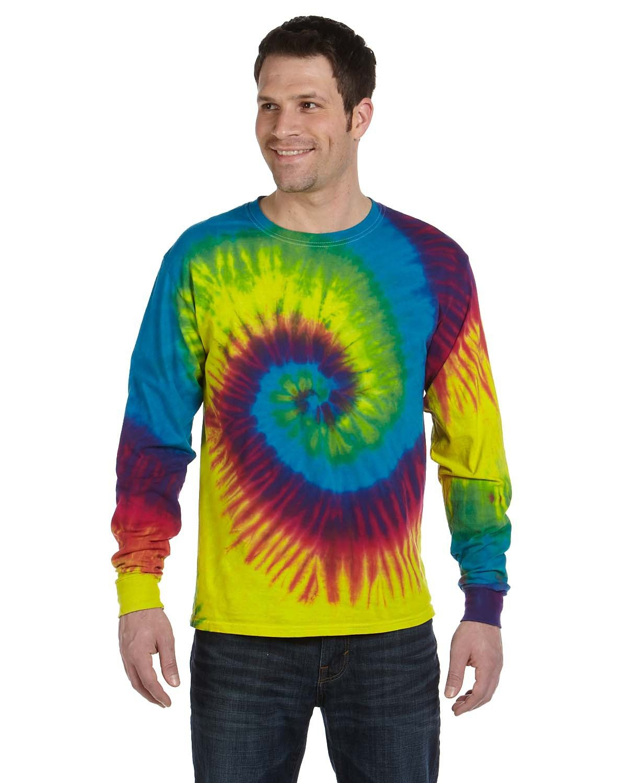 Tie-Dye Adult 5.4 oz. 100% Cotton Long-Sleeve T-Shirt REACTIVE RAINBOW
