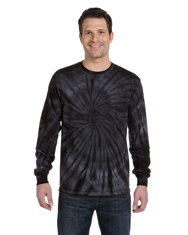 Tie-Dye Adult 5.4 oz. 100% Cotton Long-Sleeve T-Shirt SPIDER BLACK