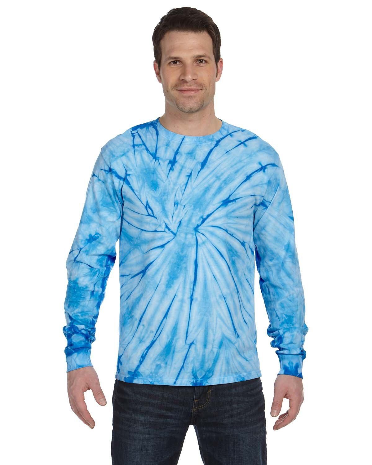 Tie-Dye Adult 5.4 oz. 100% Cotton Long-Sleeve T-Shirt SPIDER BABY BLUE