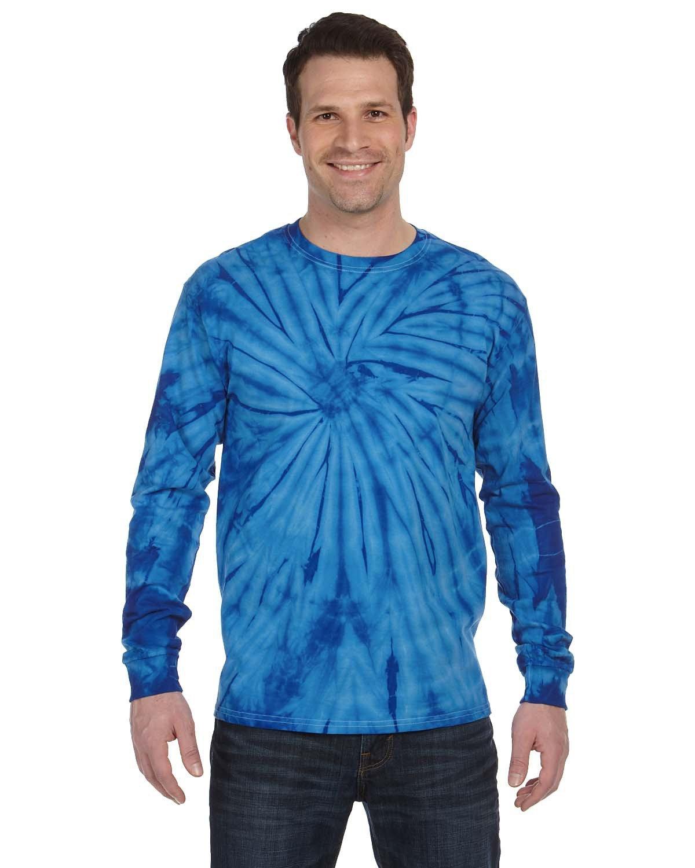 Tie-Dye Adult 5.4 oz. 100% Cotton Long-Sleeve T-Shirt SPIDER ROYAL