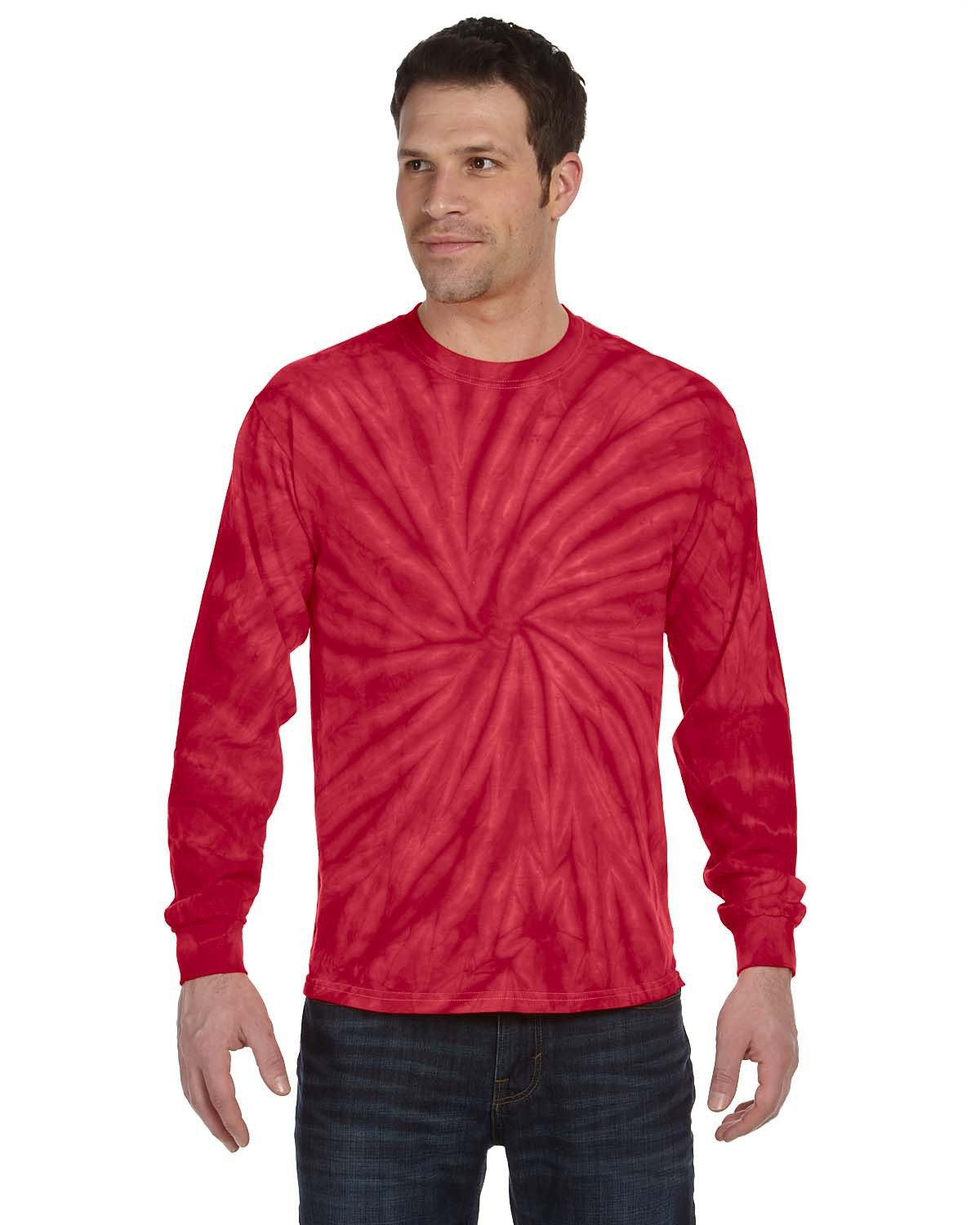 Tie-Dye Adult 5.4 oz. 100% Cotton Long-Sleeve T-Shirt SPIDER RED