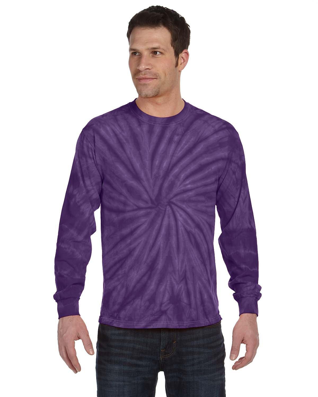 Tie-Dye Adult 5.4 oz. 100% Cotton Long-Sleeve T-Shirt SPIDER PURPLE