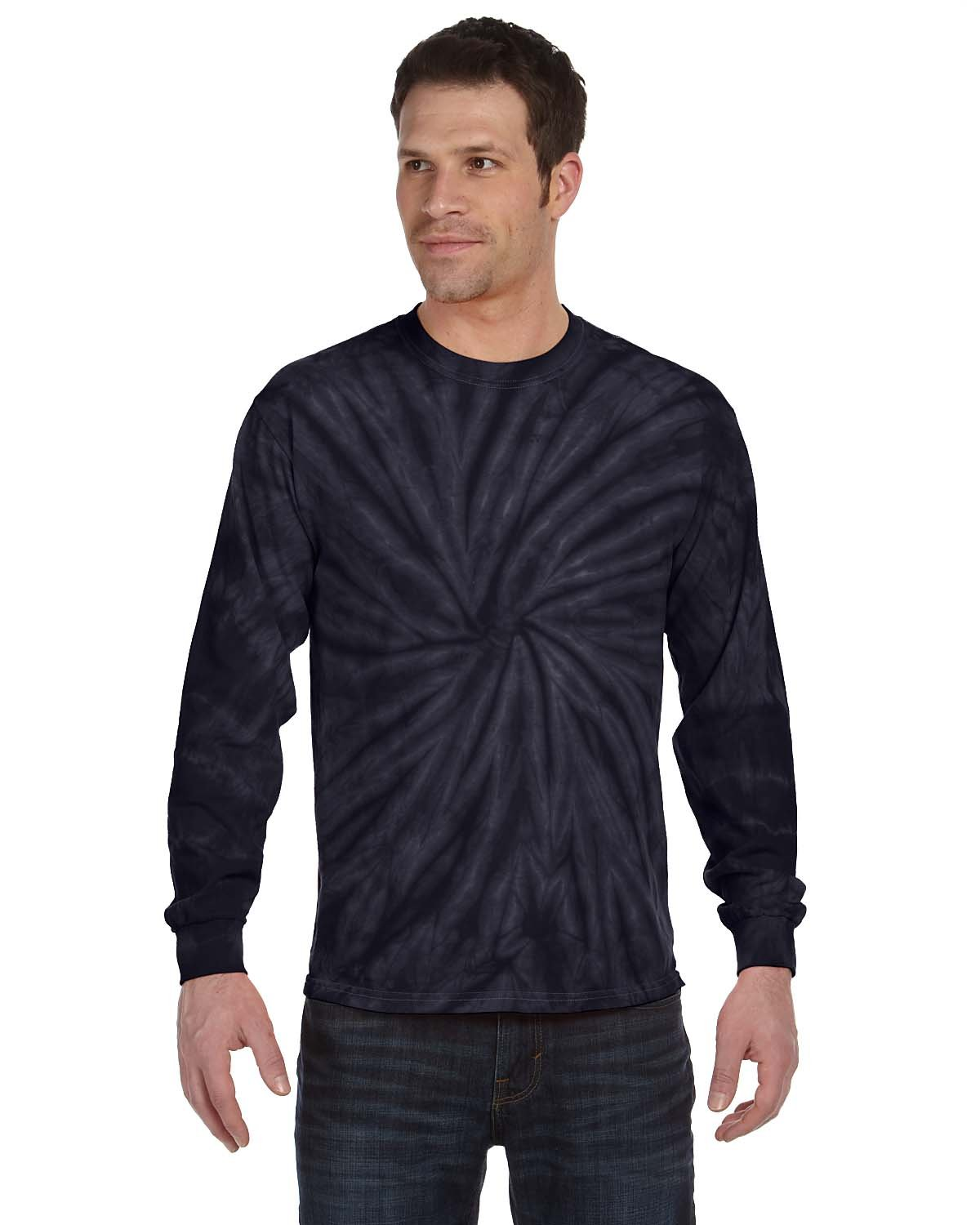 Tie-Dye Adult 5.4 oz. 100% Cotton Long-Sleeve T-Shirt SPIDER NAVY