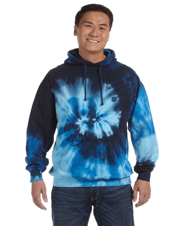 Tie-Dye Adult Tie-Dyed Pullover Hooded Sweatshirt BLUE OCEAN
