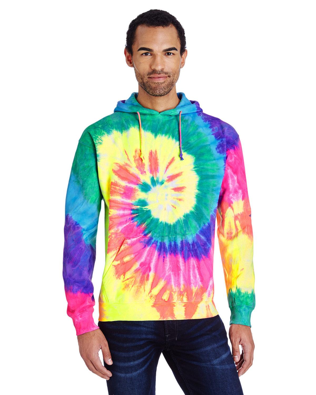 Tie-Dye Adult Tie-Dyed Pullover Hooded Sweatshirt NEON RAINBOW