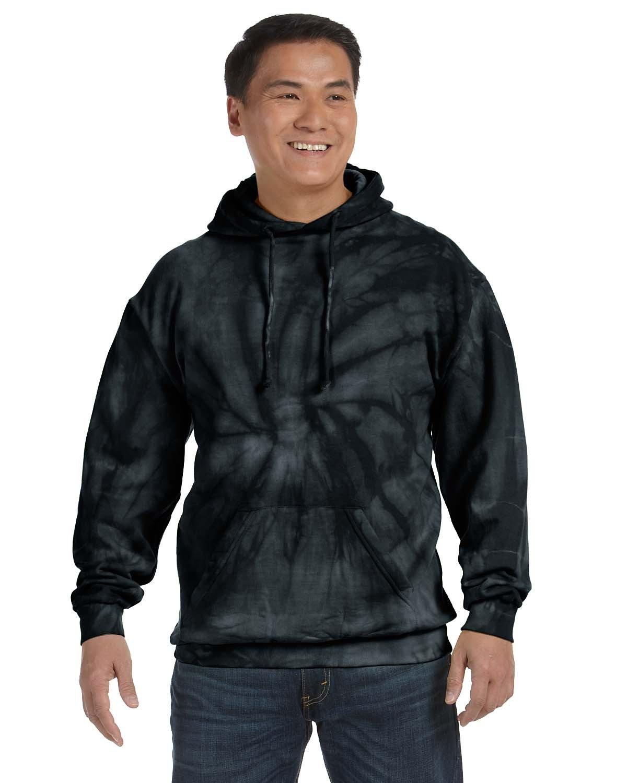 Tie-Dye Adult Tie-Dyed Pullover Hooded Sweatshirt SPIDER BLACK