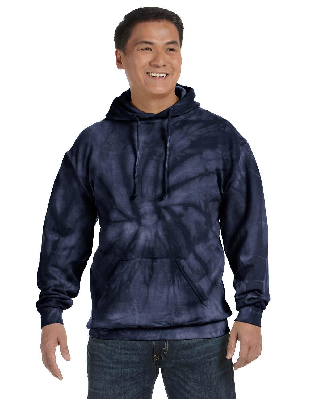 Tie-Dye Adult Tie-Dyed Pullover Hooded Sweatshirt SPIDER NAVY