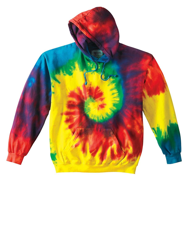 Tie-Dye Adult Tie-Dyed Pullover Hooded Sweatshirt REACTIVE RAINBOW