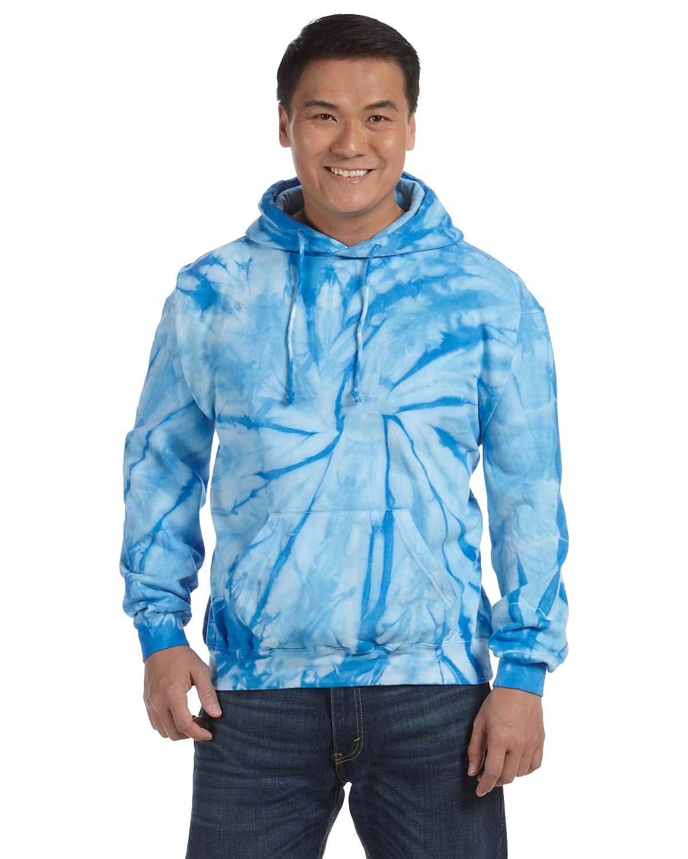 Tie-Dye Adult Tie-Dyed Pullover Hooded Sweatshirt SPIDER BABY BLUE