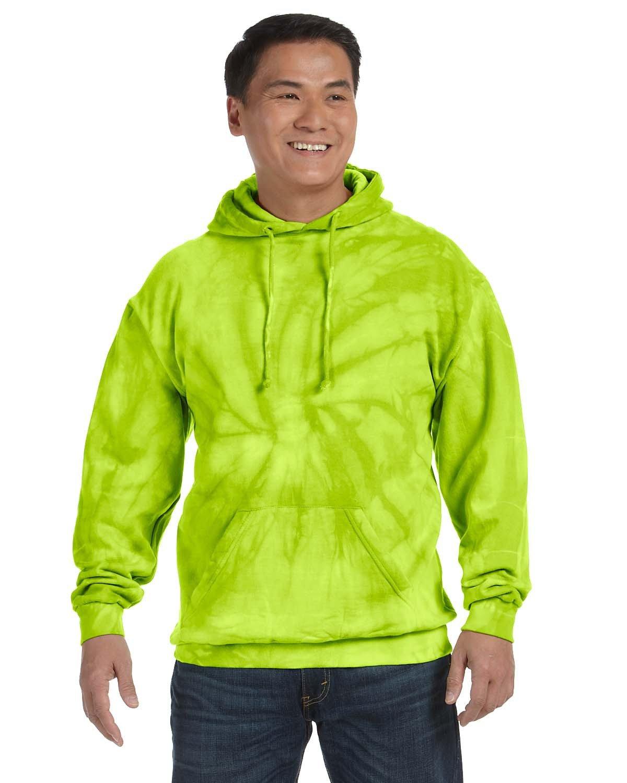 Tie-Dye Adult Tie-Dyed Pullover Hooded Sweatshirt SPIDER LIME
