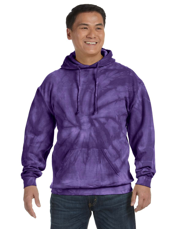 Tie-Dye Adult Tie-Dyed Pullover Hooded Sweatshirt SPIDER PURPLE