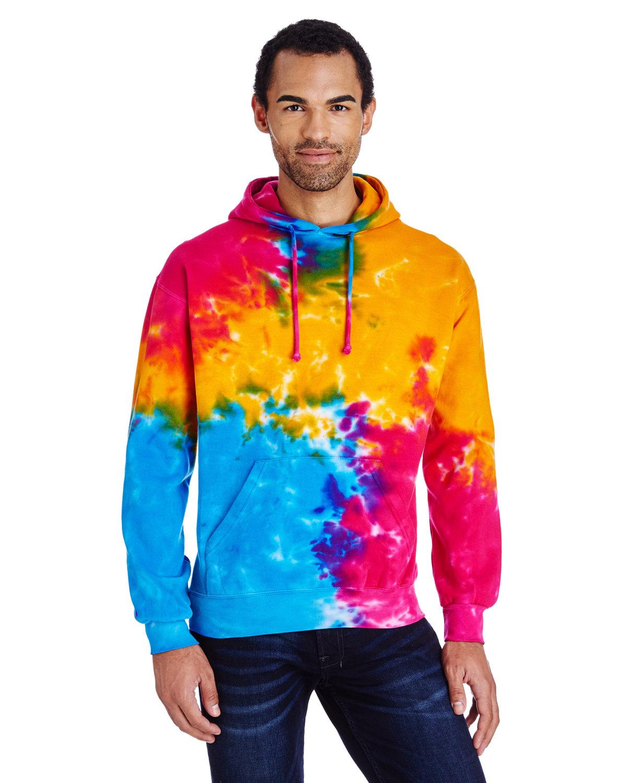 Tie-Dye Adult Tie-Dyed Pullover Hooded Sweatshirt MULTI RAINBOW