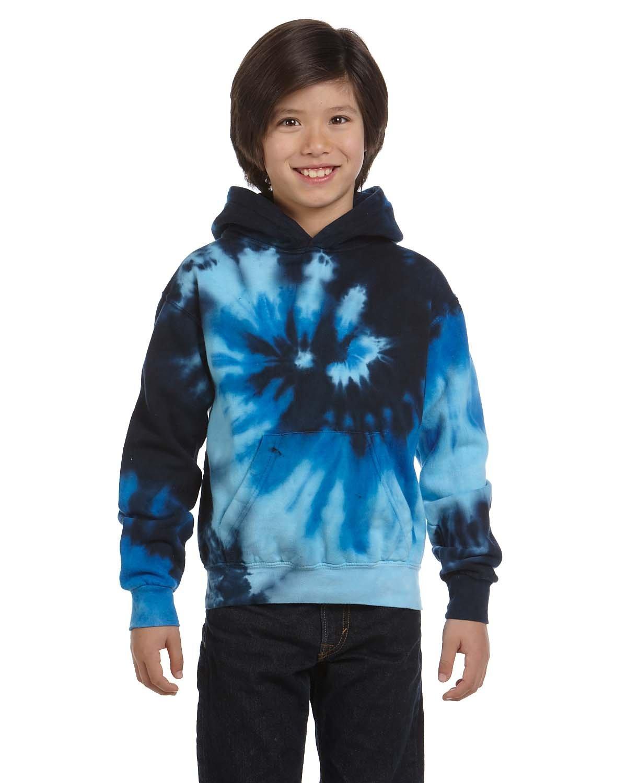 Tie-Dye Youth 8.5 oz. Tie-Dyed Pullover Hooded Sweatshirt BLUE OCEAN