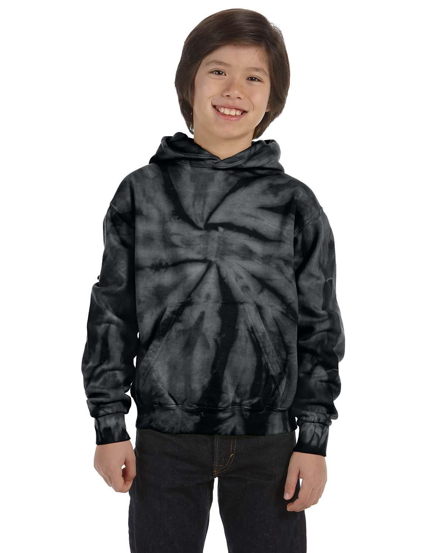 Tie-Dye Youth 8.5 oz. Tie-Dyed Pullover Hooded Sweatshirt SPIDER BLACK