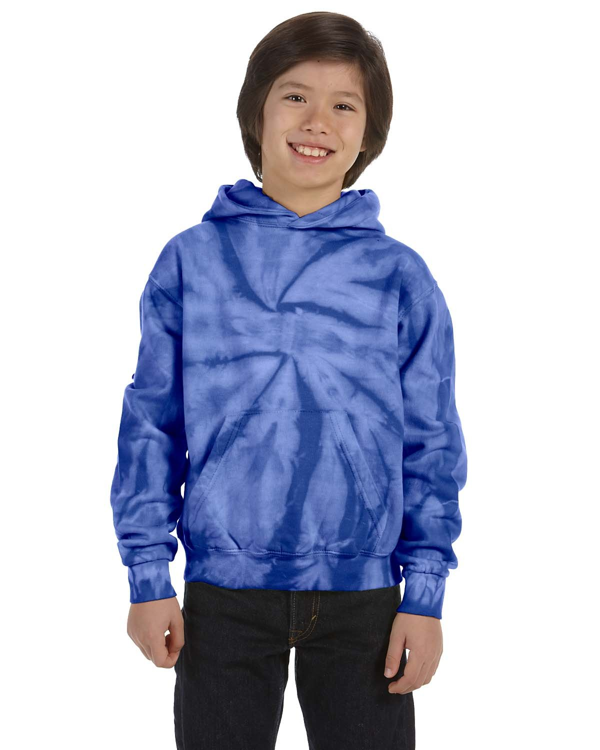 Tie-Dye Youth 8.5 oz. Tie-Dyed Pullover Hooded Sweatshirt SPIDER ROYAL