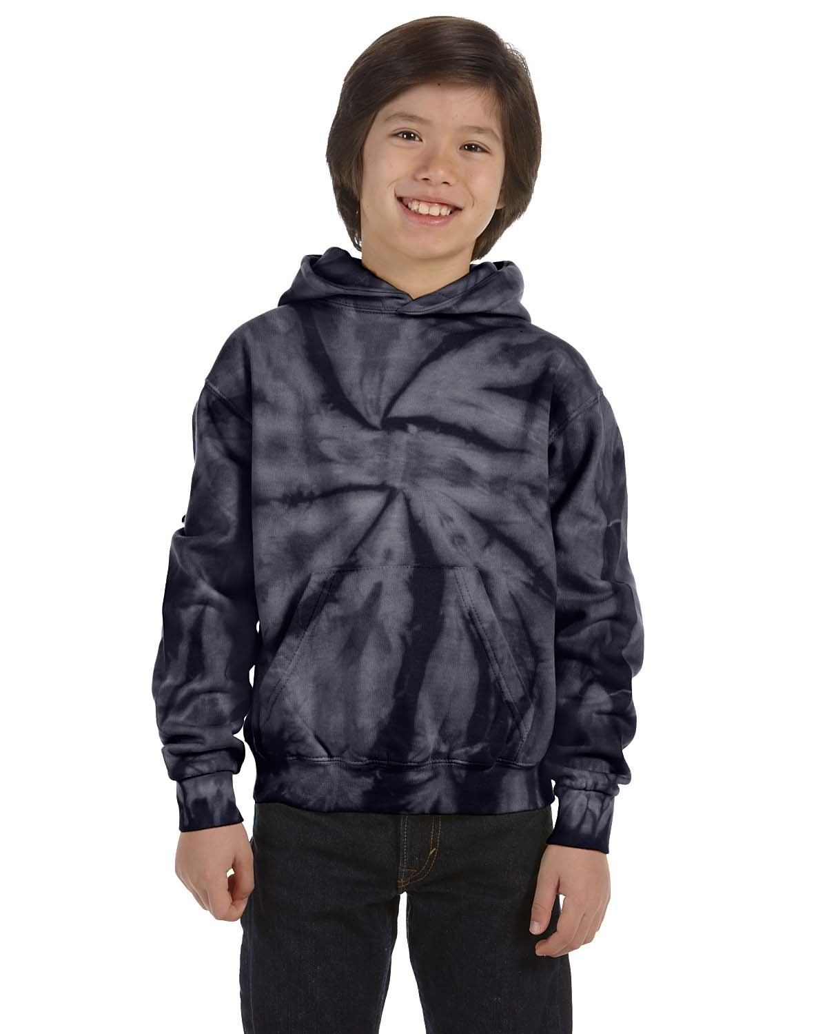 Tie-Dye Youth 8.5 oz. Tie-Dyed Pullover Hooded Sweatshirt SPIDER NAVY