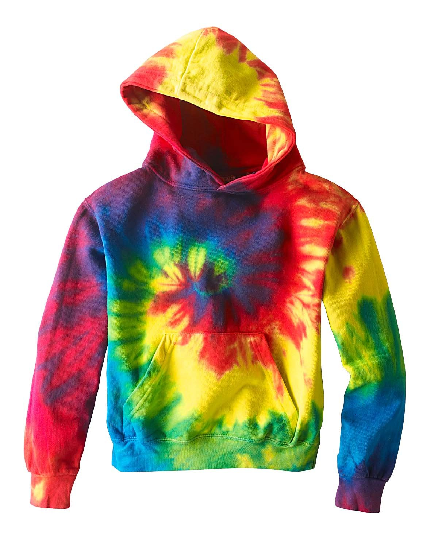 Tie-Dye Youth 8.5 oz. Tie-Dyed Pullover Hooded Sweatshirt REACTIVE RAINBOW