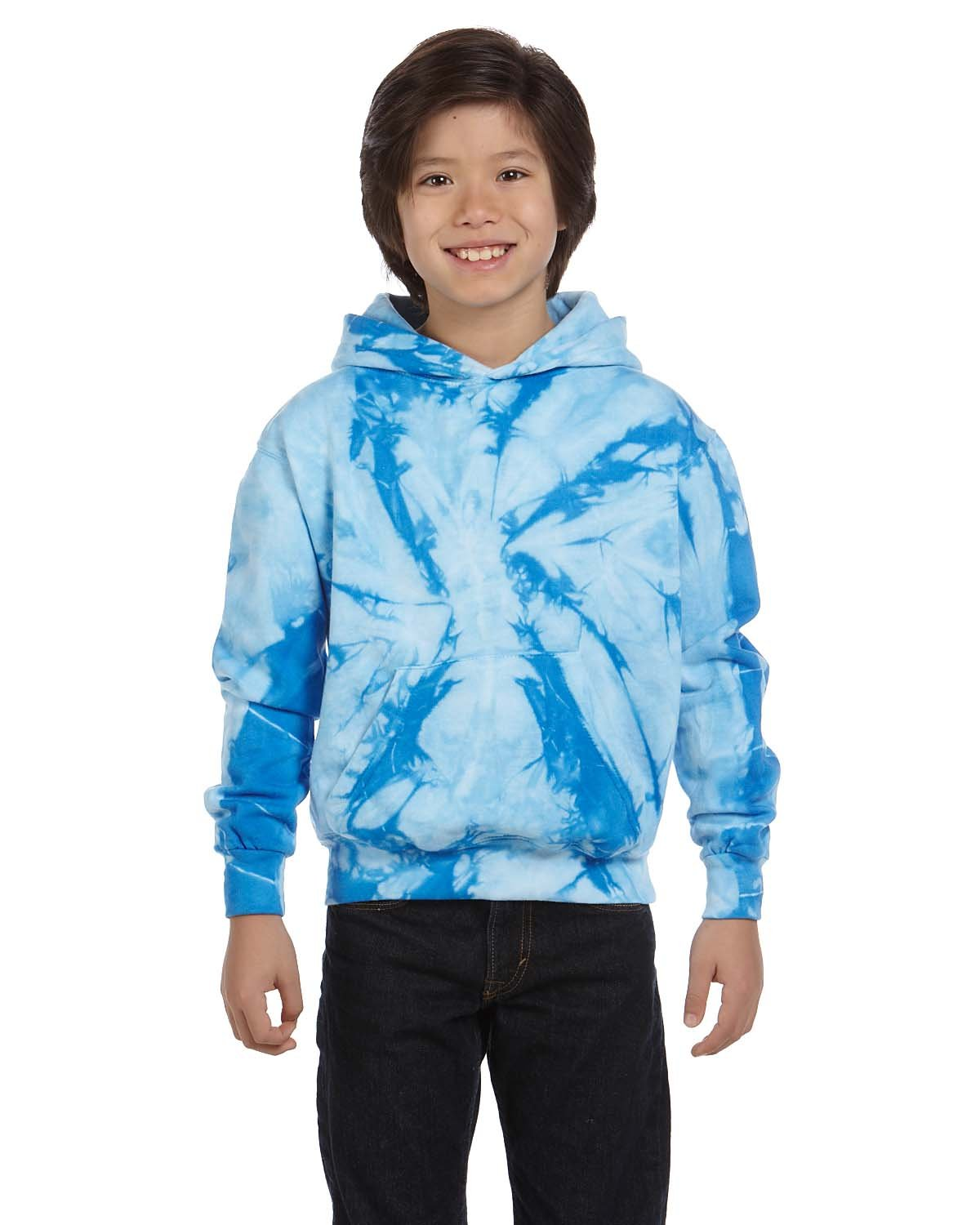 Tie-Dye Youth 8.5 oz. Tie-Dyed Pullover Hooded Sweatshirt SPIDER BABY BLUE