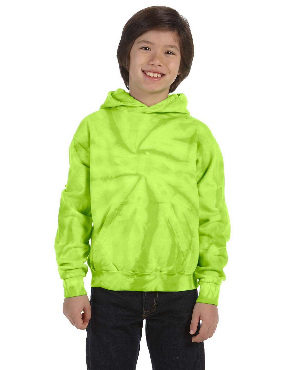 Tie-Dye Youth 8.5 oz. Tie-Dyed Pullover Hooded Sweatshirt SPIDER LIME