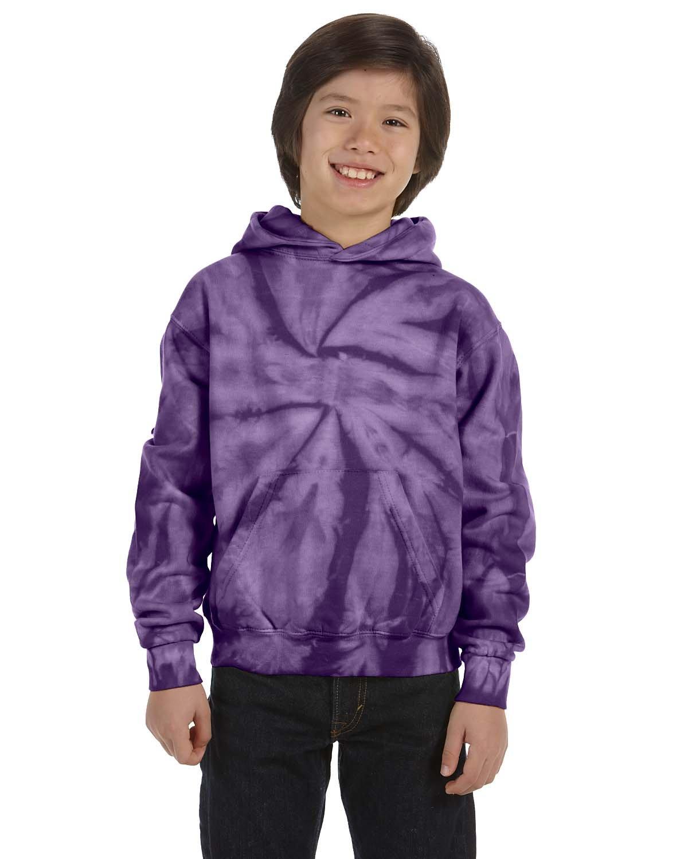 Tie-Dye Youth 8.5 oz. Tie-Dyed Pullover Hooded Sweatshirt SPIDER PURPLE