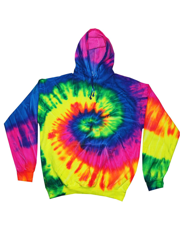 Tie-Dye Youth 8.5 oz. Tie-Dyed Pullover Hooded Sweatshirt NEON RAINBOW