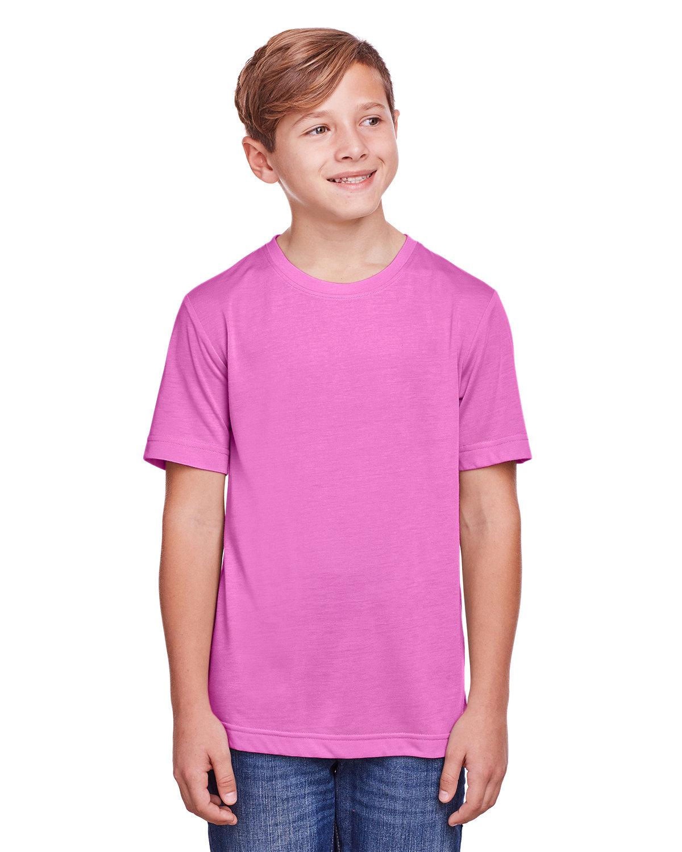 Core 365 Youth Fusion ChromaSoft Performance T-Shirt CHARITY PINK