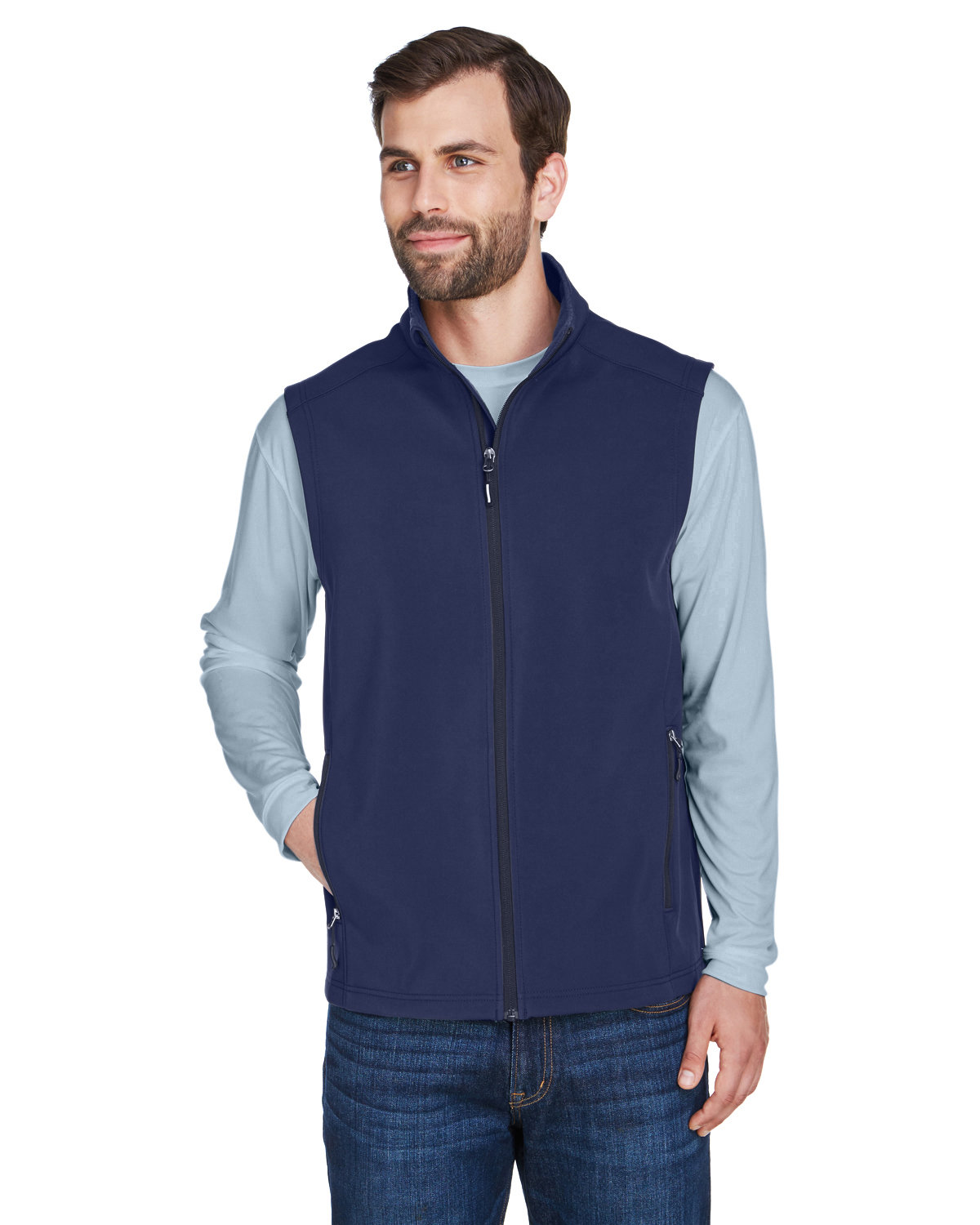 Core 365 Men's Cruise Two-Layer Fleece Bonded Soft Shell Vest CLASSIC NAVY