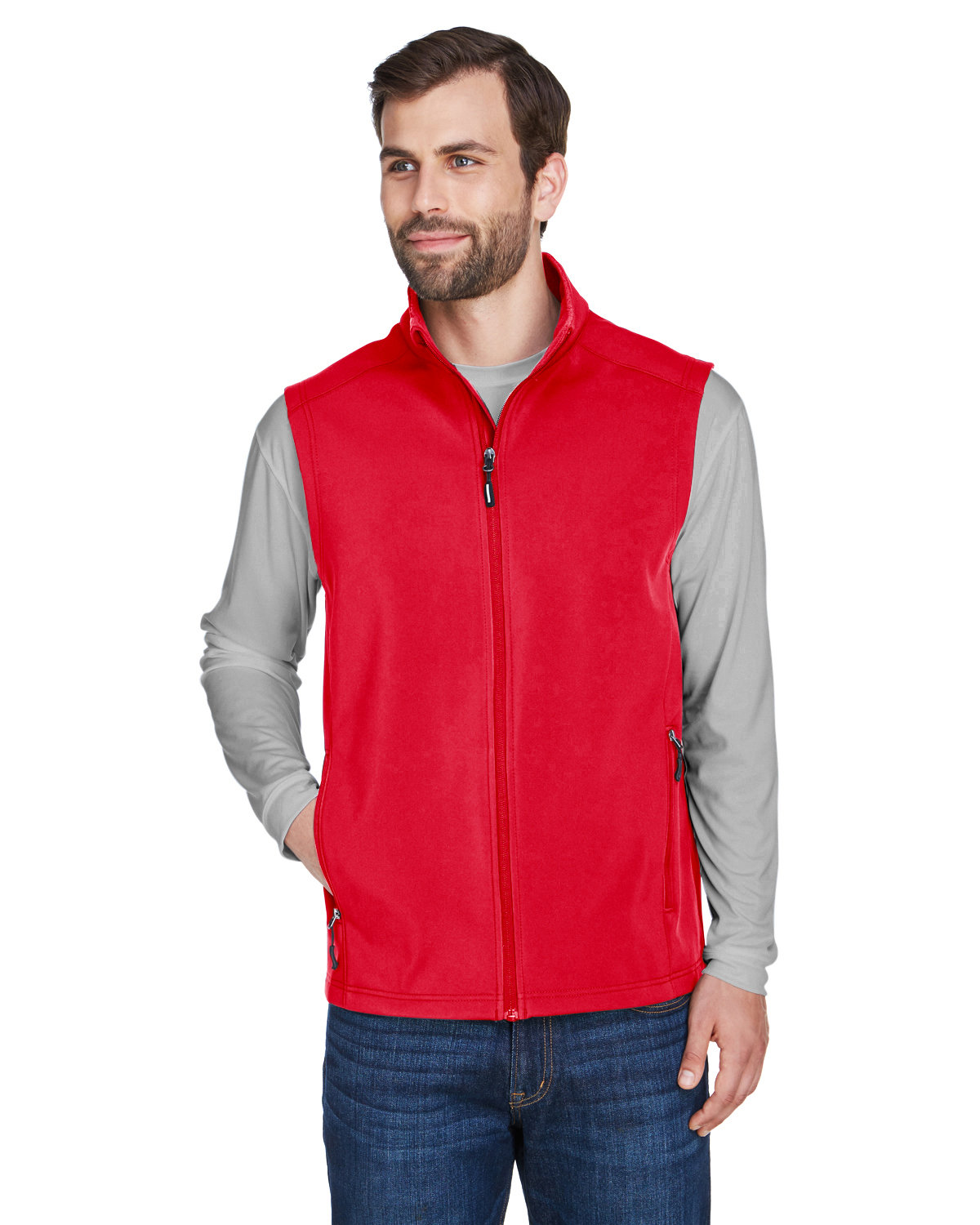 Core 365 Men's Cruise Two-Layer Fleece Bonded Soft Shell Vest CLASSIC RED