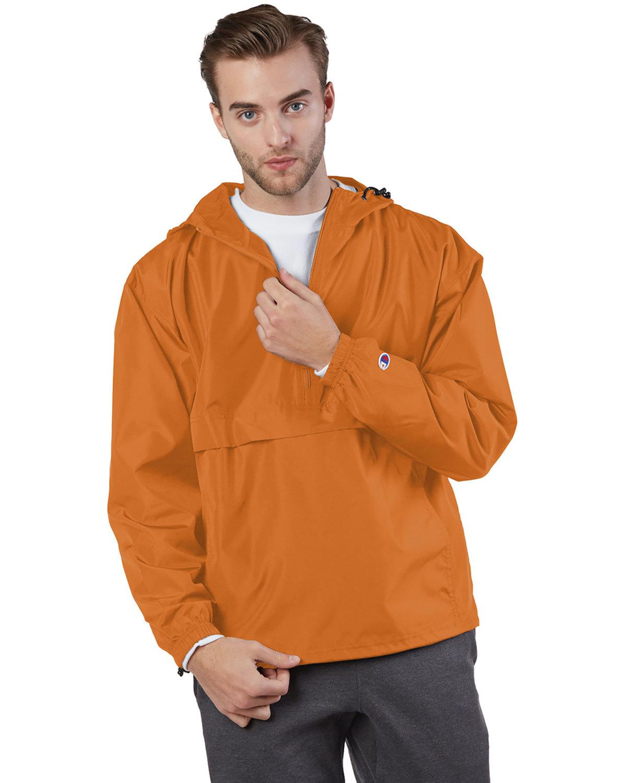 Champion Adult Packable Anorak 1/4 Zip Jacket ORANGE