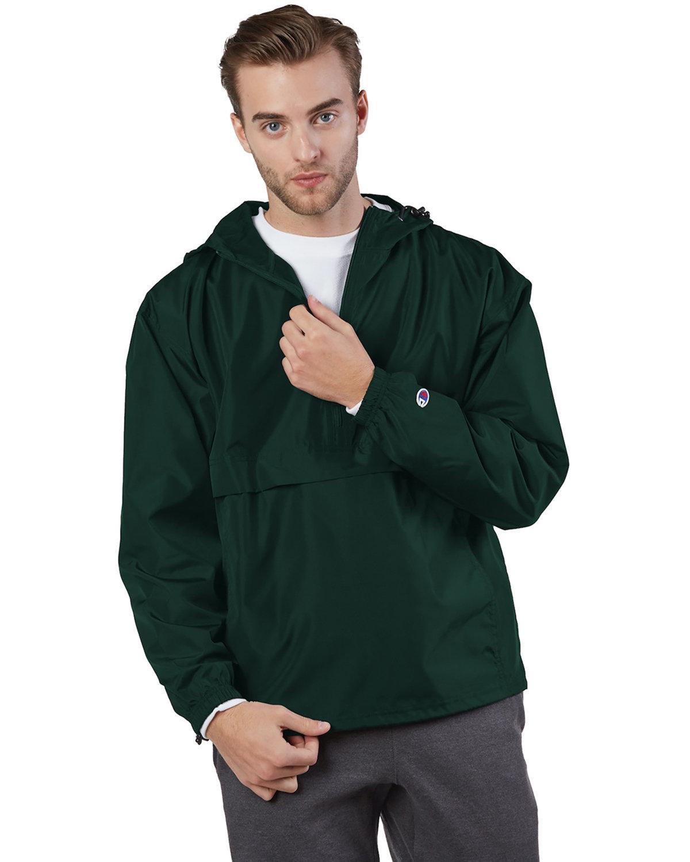 Champion Adult Packable Anorak 1/4 Zip Jacket DARK GREEN