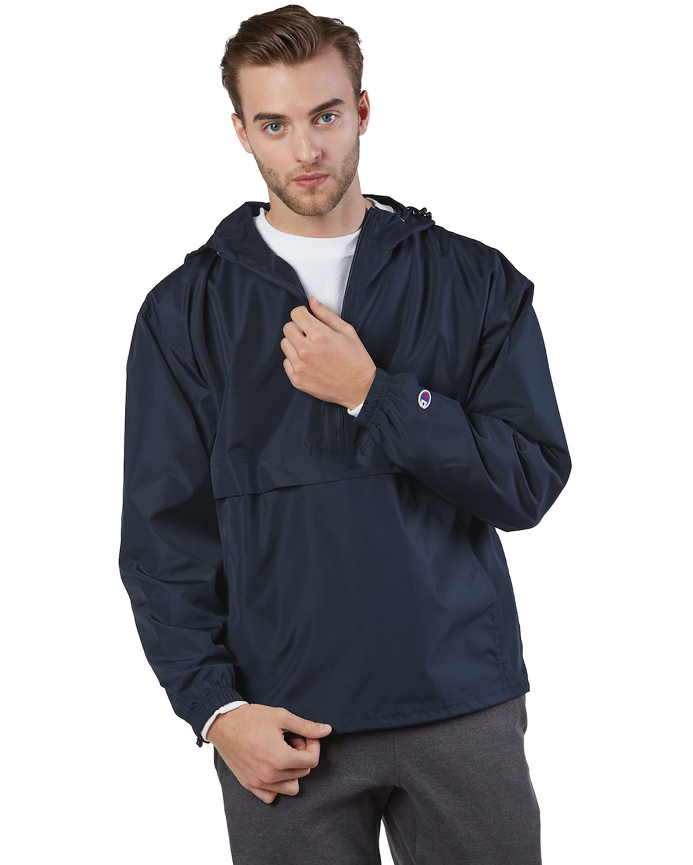 Champion Adult Packable Anorak 1/4 Zip Jacket NAVY