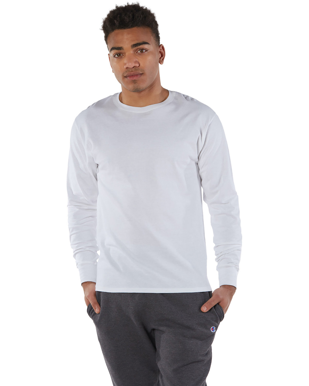 Champion Adult Long-Sleeve Ringspun T-Shirt WHITE
