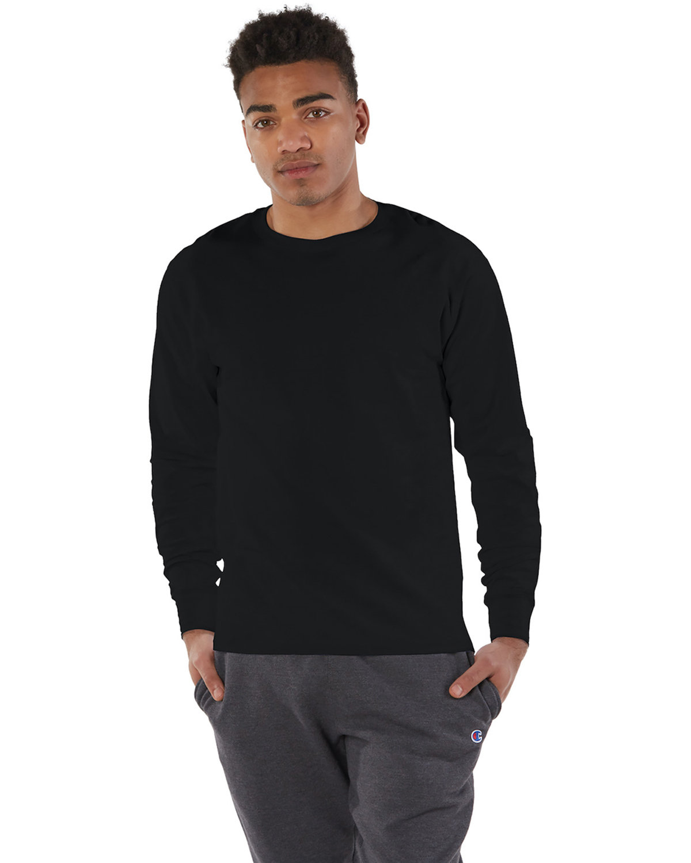 Champion Adult Long-Sleeve Ringspun T-Shirt BLACK