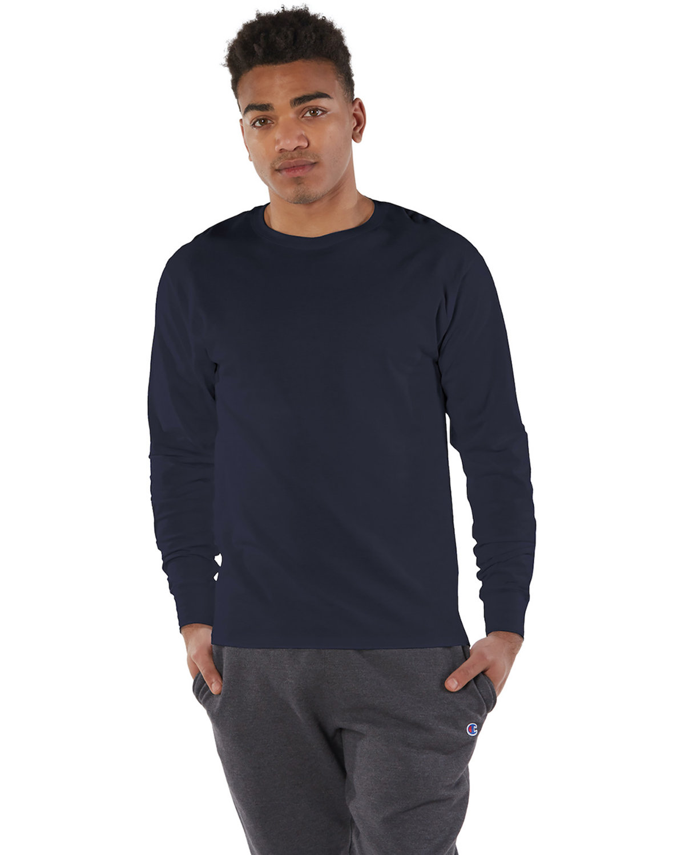 Champion Adult Long-Sleeve Ringspun T-Shirt NAVY