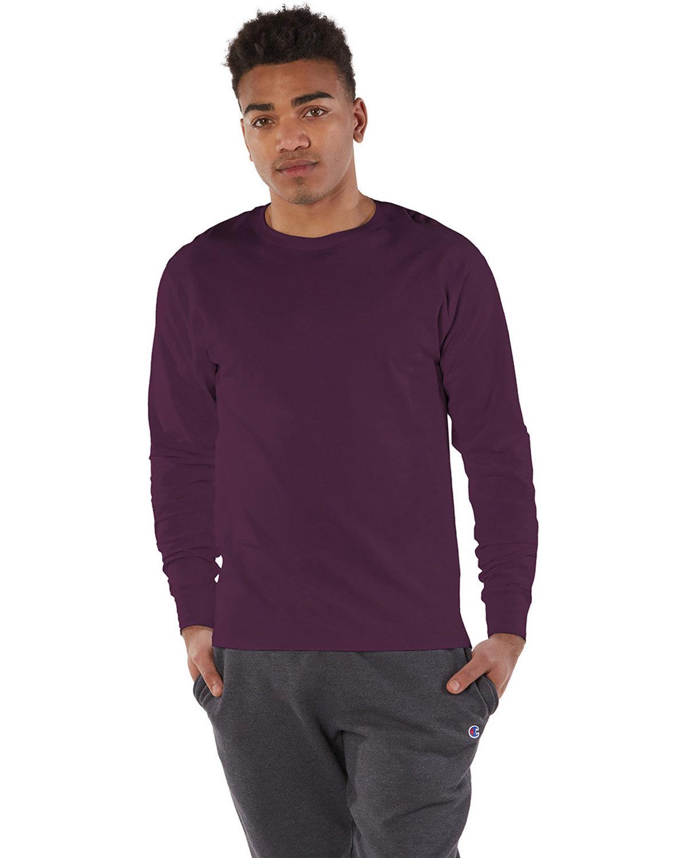 Champion Adult Long-Sleeve Ringspun T-Shirt MAROON