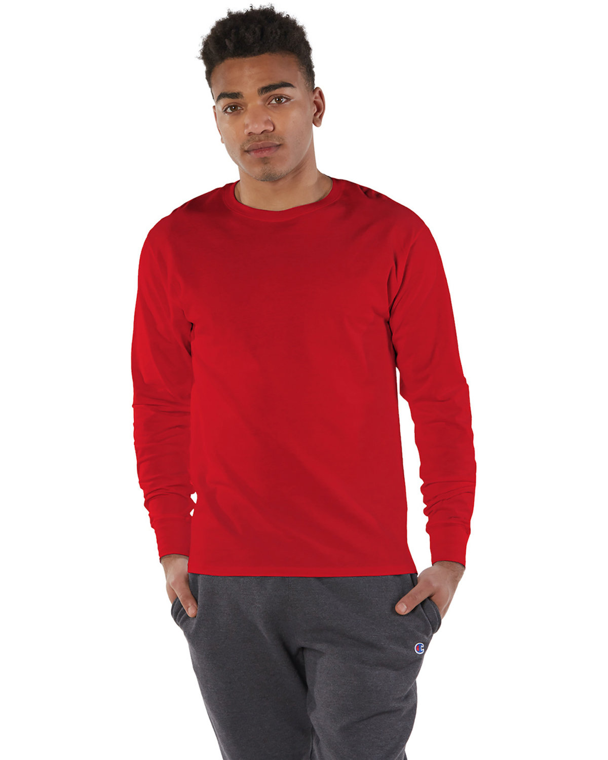 Champion Adult Long-Sleeve Ringspun T-Shirt ATHLETIC RED