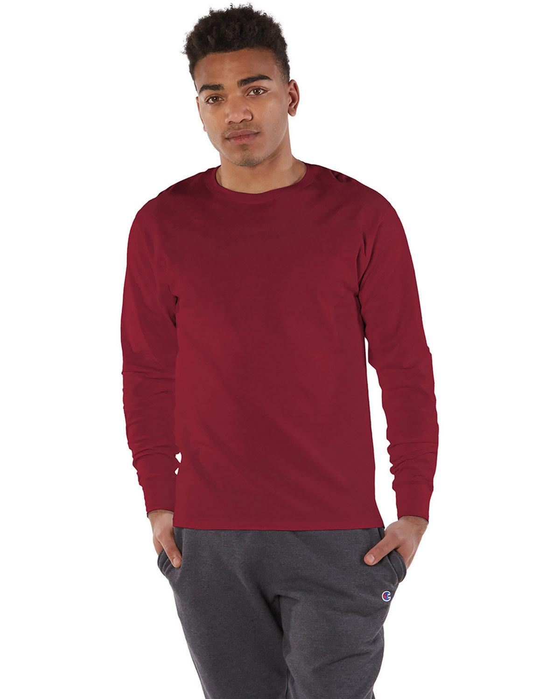 Champion Adult Long-Sleeve Ringspun T-Shirt TRUE CARDINAL