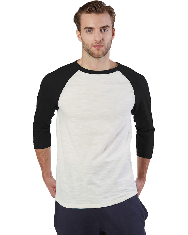 Champion Adult Ringspun Slub Baseball T-Shirt CHALK WHT/ BLK